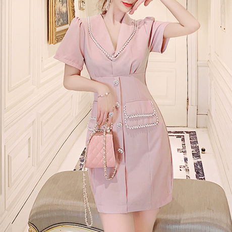 Pearl line pink dress(No.300707)
