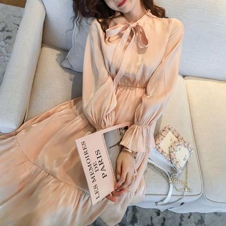 Satin vintage pink long dress(No.300712)