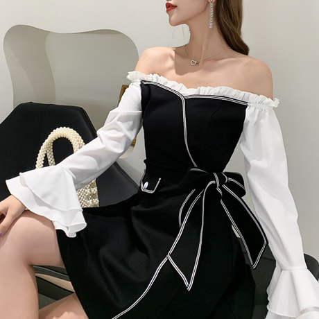 Frill off-shoulder monotone dress(No.301017)