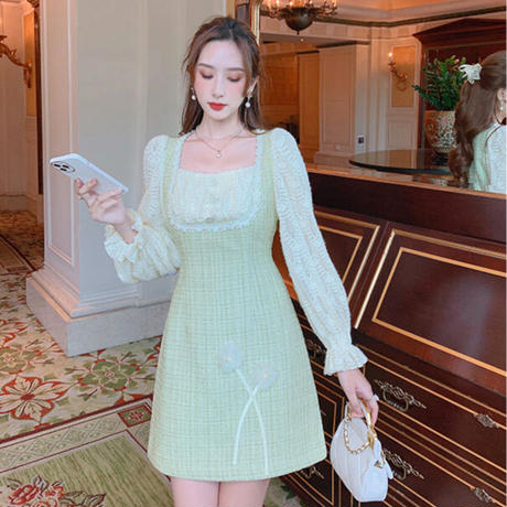 Garden mint tweed waist tuck dress(No.030901)