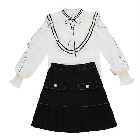 monotone fairy blouse & skirt set(No.300579)