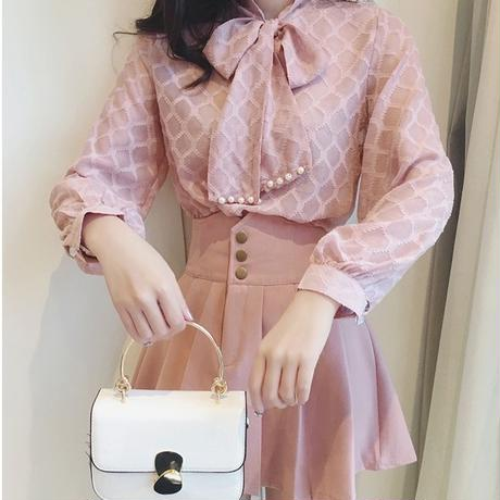 一部即納♡pearl ribbon blouse & skirt set(No.300585)