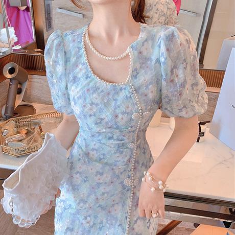 Pearl line summer fleur midi dress(No.302132)
