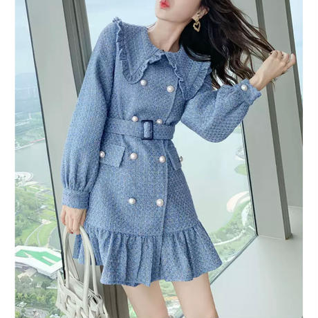 Double button chic frill blue coat(No.301844)