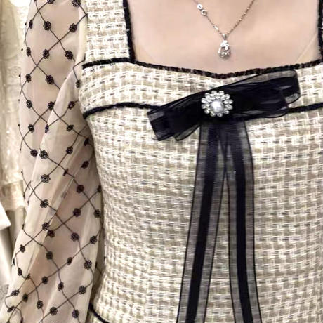 一部即納♡Lady ribbon brooch tweed dress(No.301530)