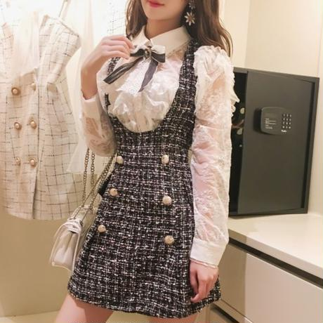 一部即納♡ribbon blouse & tweed skirt (No.300528)