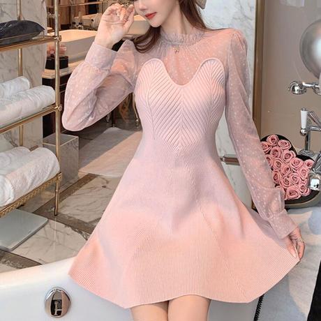 Heart cut baby pink knit dress(No.301951)【pink】