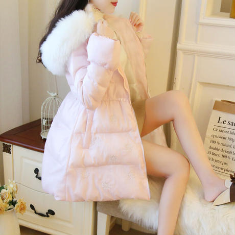 Volume a-line eco-down coat(No.301956)【white , pink】
