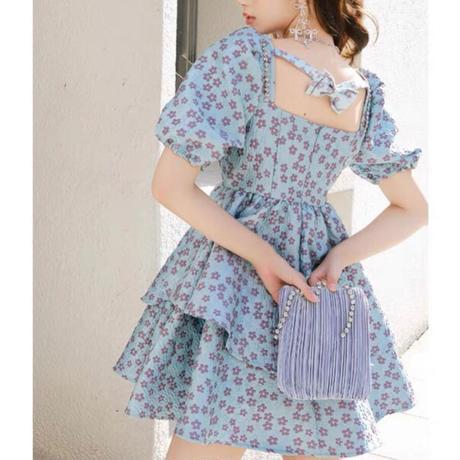 Romantic bouquet flare mini dress(No.302228)
