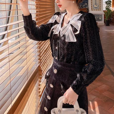 Lace ribbon puff sleeve blouse(No.301942)