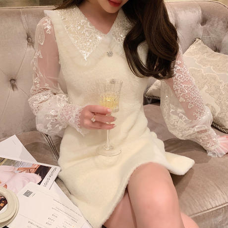 Snow like eco fur white dress(No.301720)