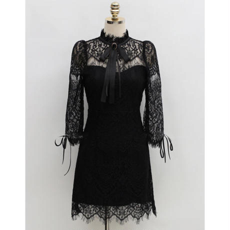Lady classical lace mini dress(No.301954)【black】