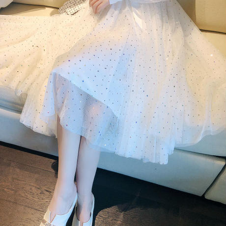 Bijjou ribbon long tulle setup(No.300717)【white , beige , black , pink】
