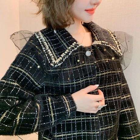 Star tulle collar check mohair setup(No.301839)