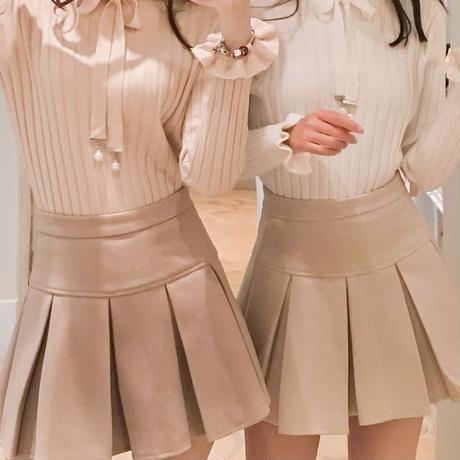 ribbon blouse & latte skirt(No.300548)