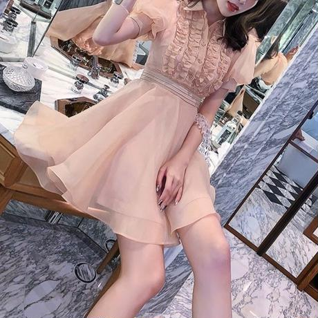 Vintage pink puff sleeve dress(No.300703)