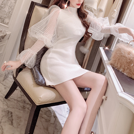 Tulle volume sleeve knit dress(No.300904)