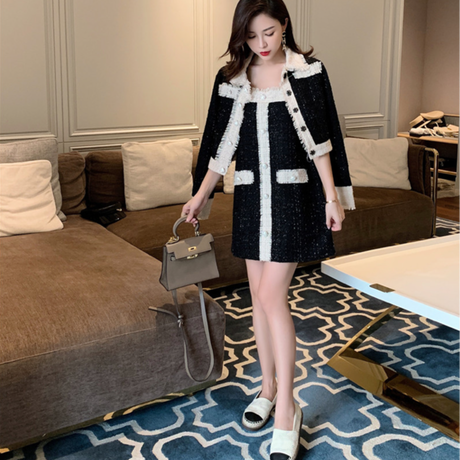 Mono two tone tweed jacket & dress set(No.301682)