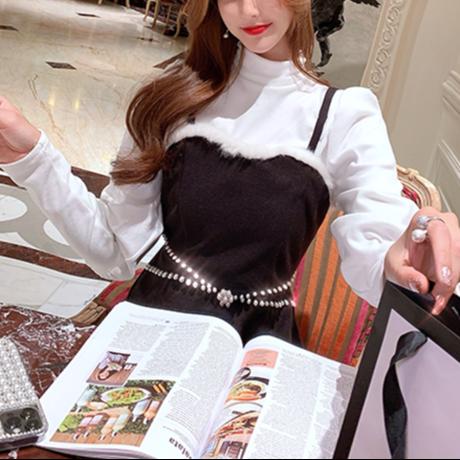 Puff sleeve tops & bijou cross dress set(No.301948)