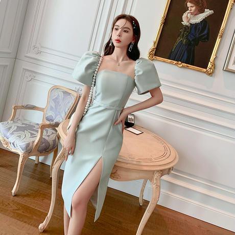 Princess puff sleeve tight midi dress(No.302218)【2color】