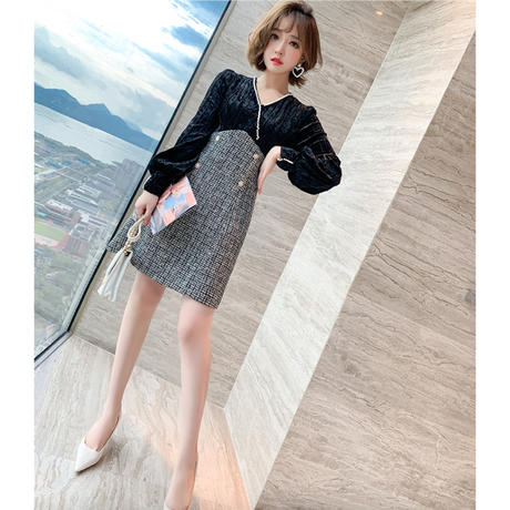 Double button velour docking dress(No.301699)【black , cream】