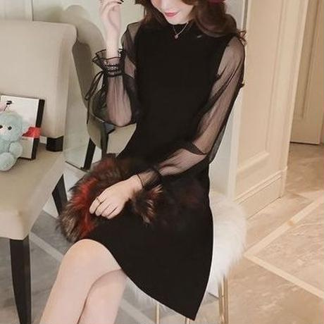 See-through Sleeve Ribbon Onepiece (No.300248)