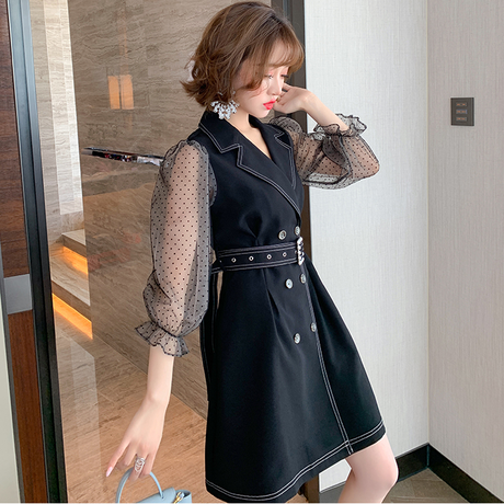 Pearl buckle belted coat dress(No.301629)