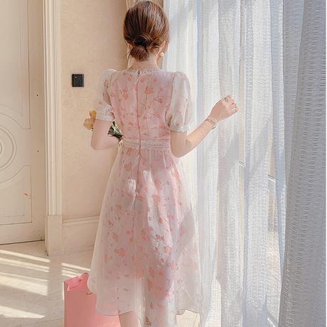 Peach pink chiffon flare dress(No.302248)