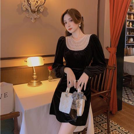 Bijou design chic velour dress(No.030918)