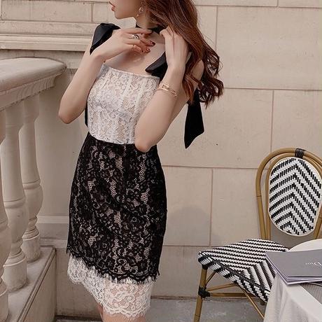 Two tone ribbon shoulder dress(No.300705)