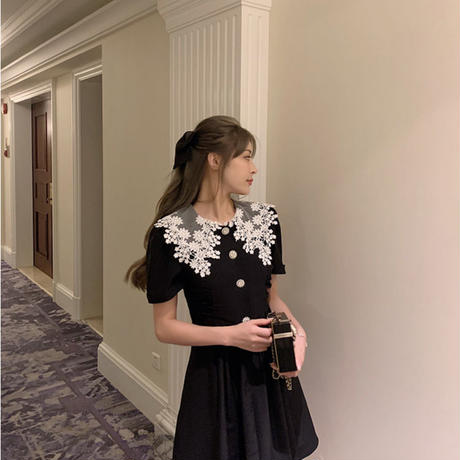 Big lace collar black dress(No.301362)