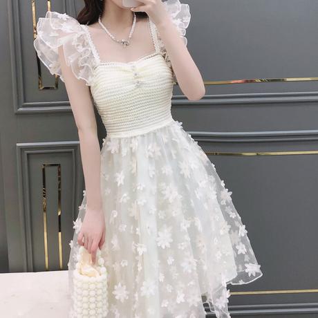 Fairy shoulder frill long lace dress(No.302192)