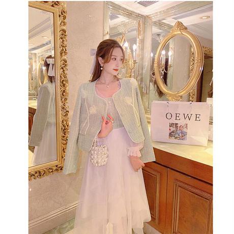 Garden mint tweed docking tulle long dress(No.030902)