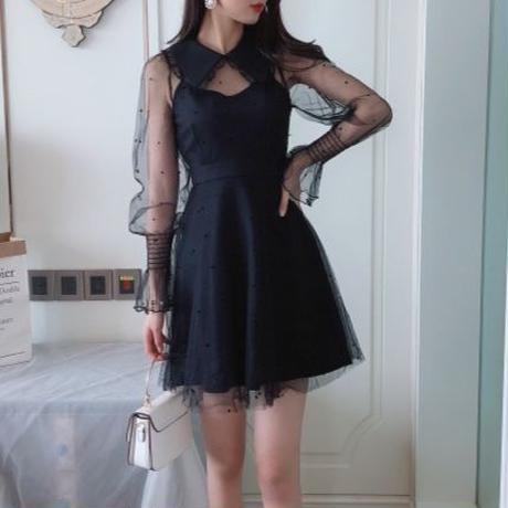 dot tulle collar OP(No.300587)
