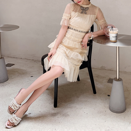 Millefeuille cream tulle ribbon dress(No.300752)