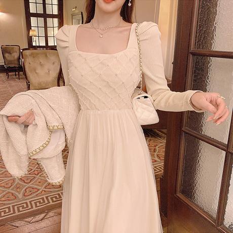 Waffle tulle puff sleeve knit dress(No.030813)【cream】