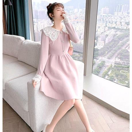 Lace collar baby pink knit dress(No.301950)