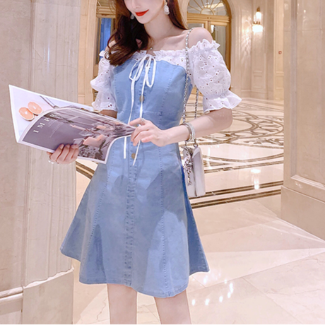 Denim off shoulder mini dress(No.301128)