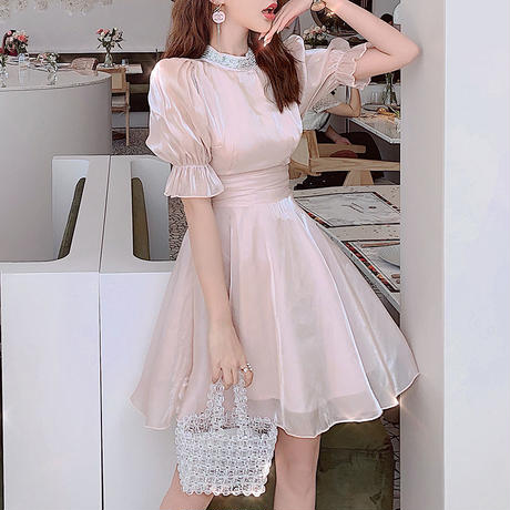 Back ribbon milk pink dress(No.300692)