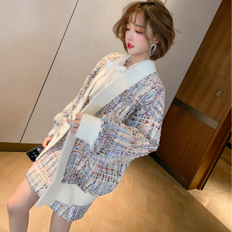 Oversize lady tweed knit setup(No.301636)【pink , purple】