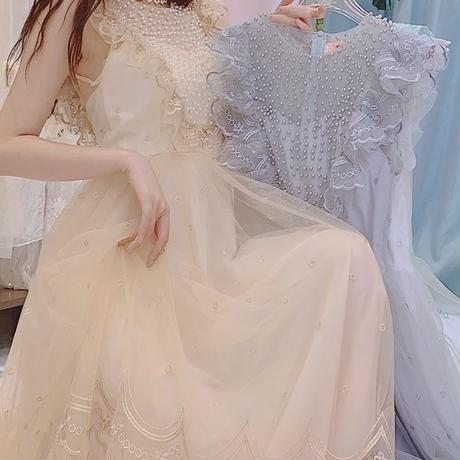Angel petite frill tulle long dress(No.300696)