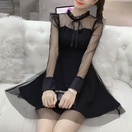 一部即納♡dot tulle black OP(No.300574)