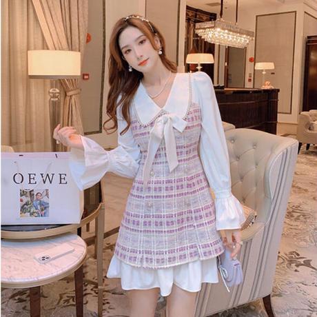Dreamy pink check tweed dress(No.030904)