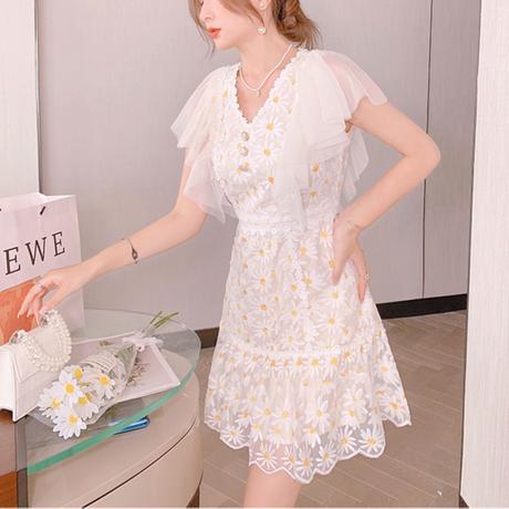 Daisy flower lace sleeve dress(No.302285)