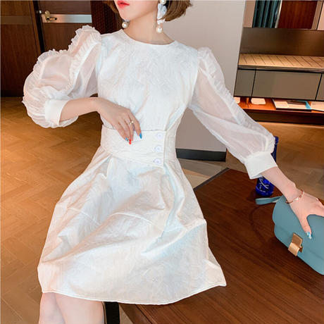 一部即納♡Motif fabric belted dress(No.301544)【white , Chidori】