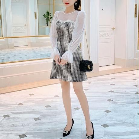 Chidori tweed docking dress(No.300809)