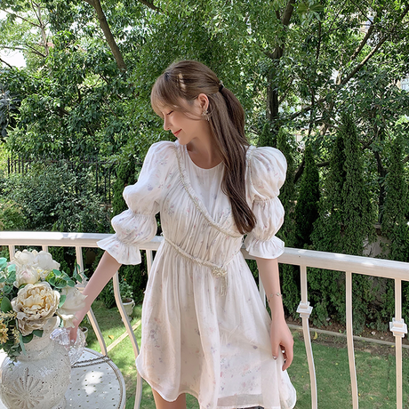 Balloon sleeve flower chiffon dress(No.301469)