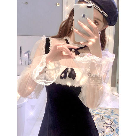 Tulle blouse docking velour dress(No.301968)