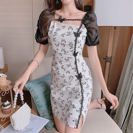 Classical butterfly mono slit dress(No.302237)