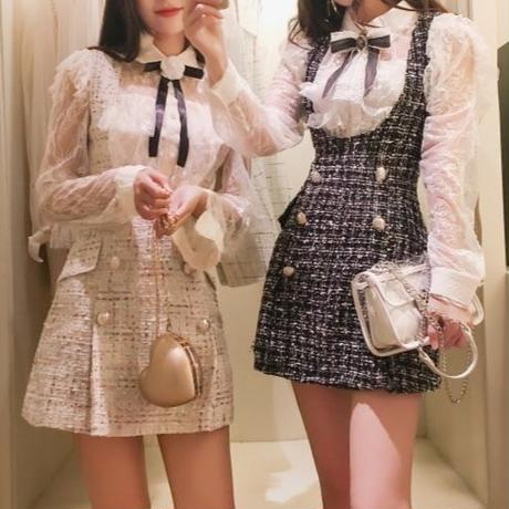 一部即納❤︎ribbon blouse & tweed skirt (No.300528)